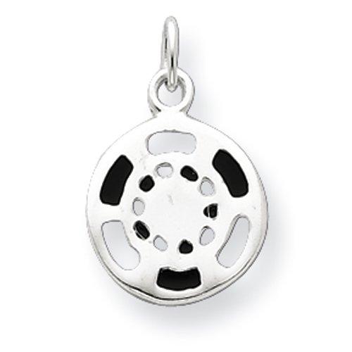 Sterling Silver Black/White Enameled Poker Chip Charm