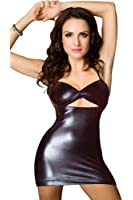 Amour- Valentine's Day Flirty Sexy Metallic PVC Like Zipper Front Mini Dress Clubwear Disco Wear