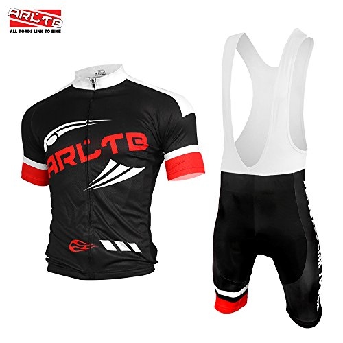 Arltb Cycling Jersey and Bib Shorts Set Bicycle Bike Short Sleeve Jersey Clothing Apparel Suit Padded Breathable Quick Dry Non Slip for Mountain Bike Road Bike MTB BMX Racing Outdoor (Road Cycling Jersey And Shorts compare prices)