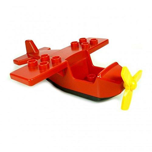 1 x Lego Duplo Flugzeug rot schwarz klein Passagier
