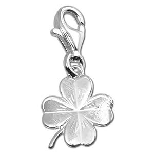 SilberDream Charms - Charm feuille de trèfle mat en argent pour charmes colliers bracelets boucles d'oreilles - Argent 925 Sterling - FC505