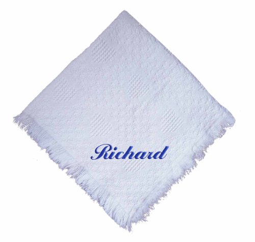 Custom Embroidered Monogrammed White Boy Cotton Woven Personalized Baby Blanket Yellow Thread front-924677