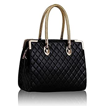 kcmode damen schwarz gesteppte stil rzte ledertasche gerahmt handtasche bekleidung. Black Bedroom Furniture Sets. Home Design Ideas