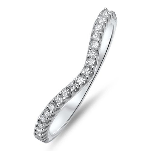 F/VS 0.15ct ROUND BRILLIANT CUT DIAMONDS SHAPED HALF ETERNITY RING,9K WHITE GOLD