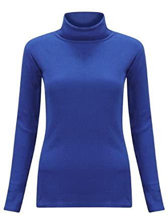 (M) WOMENS LONG SLEEVE RIBBED TURTLE POLO NECK LADIES BASIC BODYCON FIT JUMPER TOP | RYL - LS ribbed bodycon POLO jumper | SM 8/10