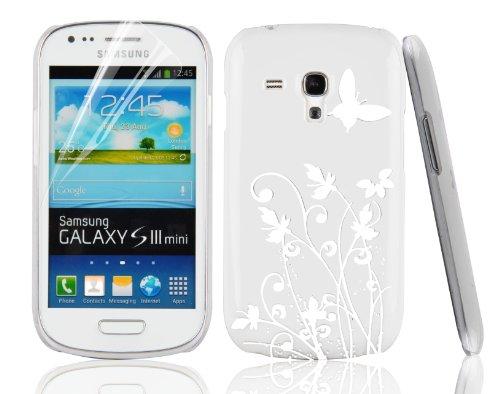 JAMMYLIZARD Cover - Custodia rigida BIANCA/ARGENTO con Fiori & Farfalle per Samsung Galaxy S3 Mini i8190. Pellicola proteggi schermo in regalo!