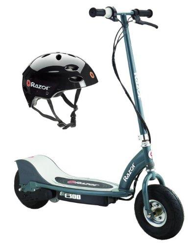 Razor E300 Electric 24V Motorized Scooter (Grey) & Youth Sport Helmet (Black)