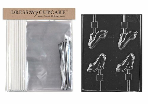 Dress My Cupcake DMCKITD108 Chocolate Candy Lollipop Packaging Kit with Mold, High Heel Shoe Lollipop dress my cupcake dmckitd108 chocolate candy lollipop packaging kit with mold high heel shoe lollipop