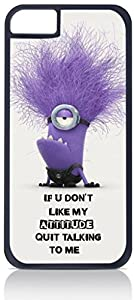 """Purple Minion with Funny Quote- """"If U Don't Like My Attitude, Quit"""