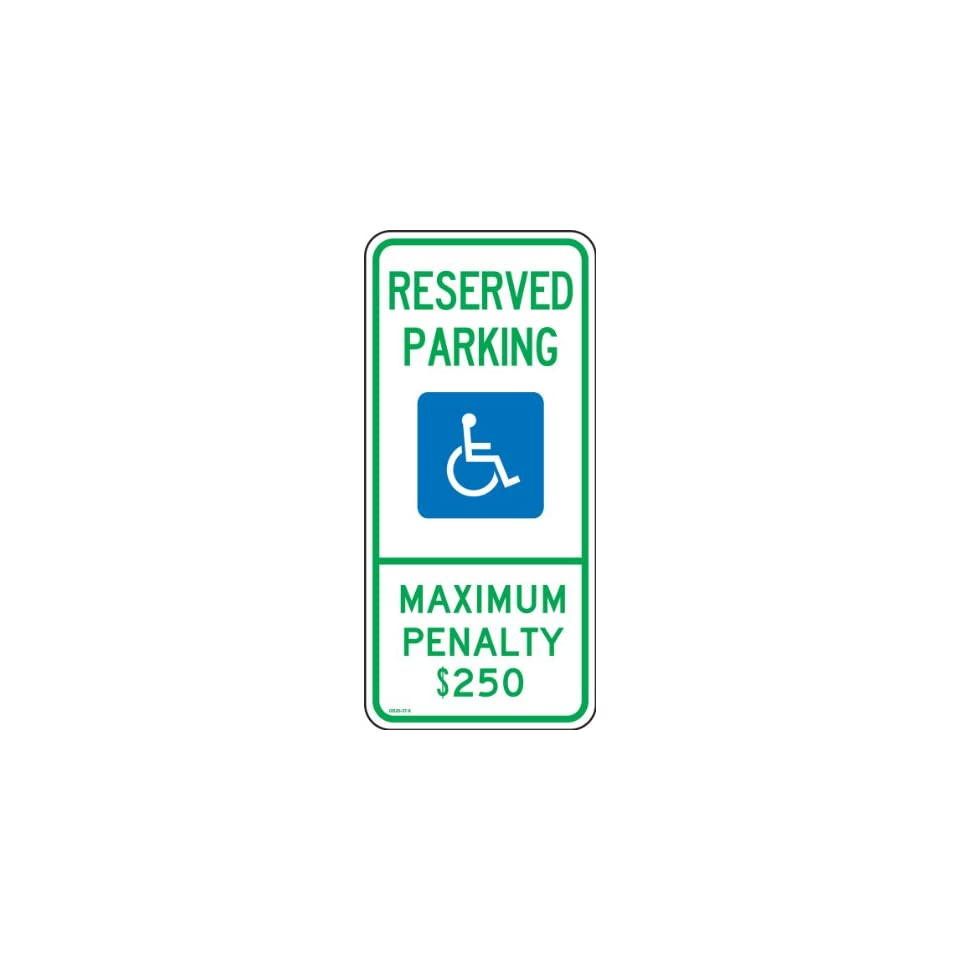 Accuform Signs FRA206RA Engineer Grade Reflective Aluminum Handicapped Parking Sign (North Carolina), Legend RESERVED PARKING MAXIMUM PENALTY $250 with Graphic, 26 Length x 12 Width x 0.080 Thickness, Green/Blue on White