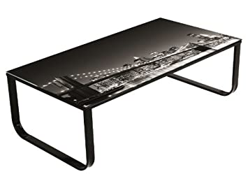 Mesa de centro de cristal Nueva York en blanco y negro