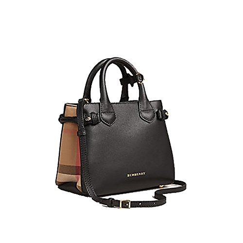 tote-bag-handbag-authentic-burberry-the-baby-banner-in-leather-and-house-check-black-item-40140711