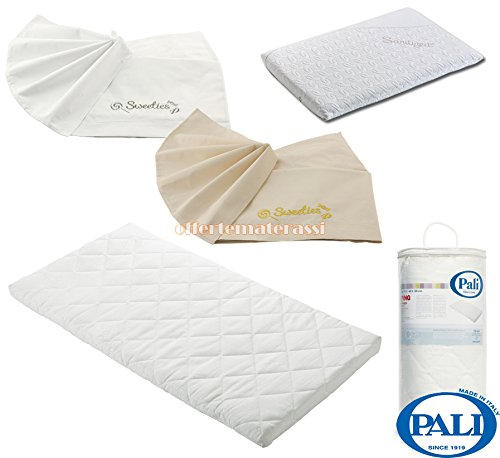 Materassino Pali Camping + Cuscino Pali Med Sanitized + Coppia di lenzuola Pali Sweeties, colore: bianco + crema