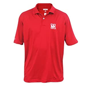 Nebraska Cornhuskers Mens Antigua Control Desert Dry Red Polo by Antigua