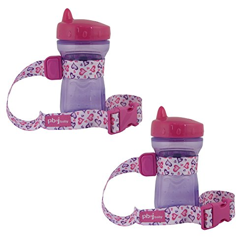 PBnJ SippyPal - Holds Sippy Cups, Bottles, Toys and More - 2 Pack (Hearts)