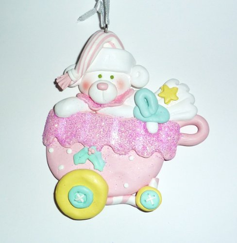 Ornament, Christmas - Baby, Girl Buggy, Bear, Personalized front-380015