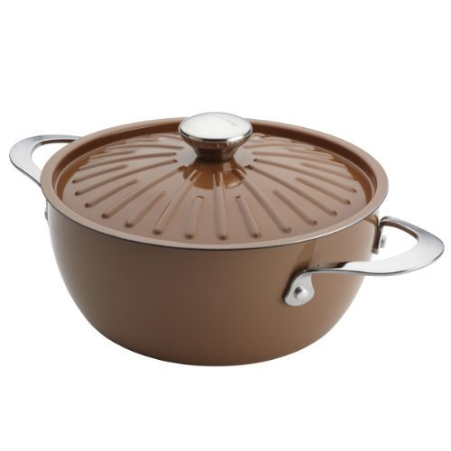 Rachael Ray Cucina Oven-To-Table Hard Enamel Nonstick 4-1/2-Quart Covered Round Casserole, Mushroom Brown by Rachael Ray