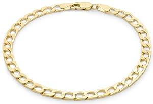 "Carissima 9ct Yellow Gold Unisex Flat Square Curb Bracelet 20cm/8"""