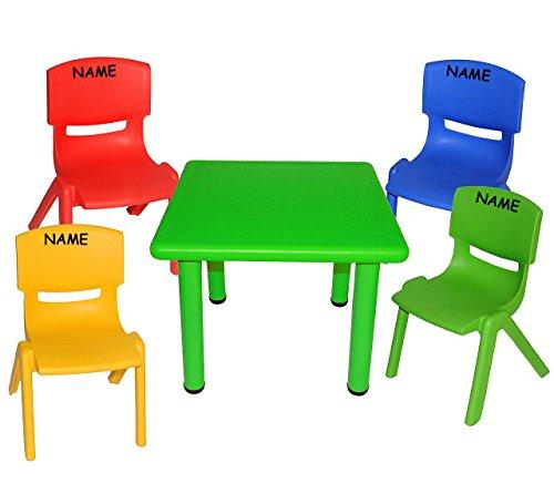 5-tlg-Set-Sitzgruppe-Tisch-4-Kindersthle-BUNT-incl-Namen-stapelbar-kippsicher-bis-100-kg-belastbar-fr-INNEN-AUEN-Plastik-Kunststoff-Stuhl-Sthle-Kinderzimmer-Kindertisch-Kinder-Gartenmbel-Kindertischgr