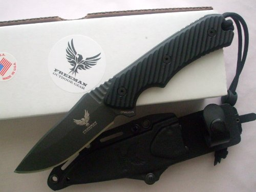"Freeman Outdoor Gear 451 4"" Fixed Blade Knife Black Blade Black Handle"