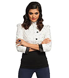 Idiotheory Chaiwalla Women's White Long Sleeve Crop Zipper Jacket (ITWCCWLLCZJWE05_L)