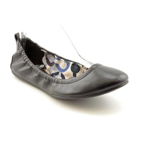 Coach Delight Womens Size 5 Black Leather Ballet Flats Shoes