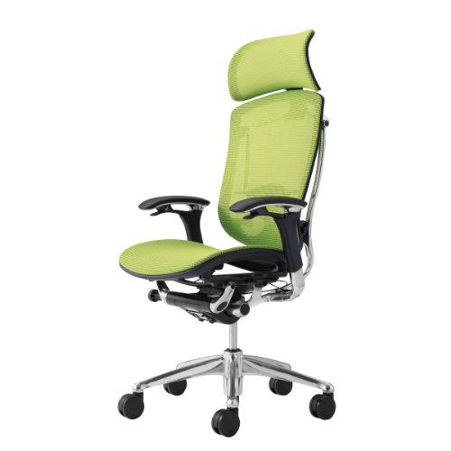 オカムラ オフィスチェア コンテッサ 可動肘 ヘッドレストタイプ 座:メッシュ ピスタチオグリーン CM91AB-FGH6