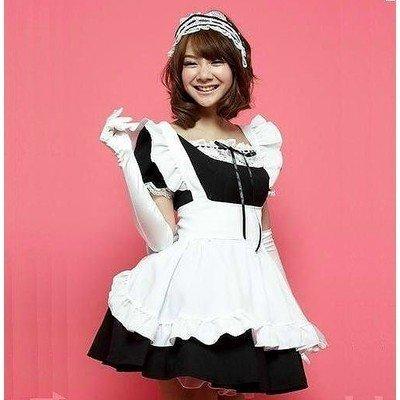 定番メイド服(黒)(カチューシャ&手袋付き)/コスチューム/コスプレ/衣装/メイドさん236黒