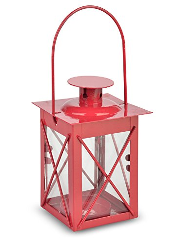 WeGlow International Red Square Hurricane Tea Light Candle Lantern Novelty (Set of 2)