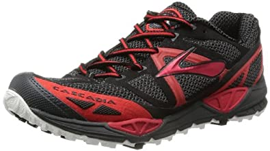 Brooks Men's Cascadia 9 Trail Running Shoes, Color: Anthracite/HghRskRed/Black, Size: 8.5