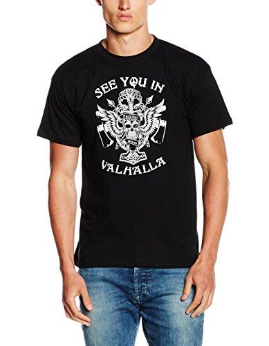 Shirtzshop-Maglietta da uomo See You In Valhalla Odin Tyr Thor, Uomo, See you in Valhalla Odin Tyr Thor T-Shirt  M, nero, M