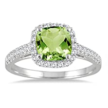 buy Peridot And Diamond Ring In 10K White Gold