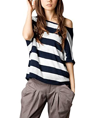 Allegra K Ladies Asymmetric Neck Short Dolman Sleeve Stripes Fashion Shirt