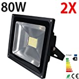 Beleuchtung - [Himanjie] 2X warmwei� 80W LED Fluter SMD Lampe 7000-7500lm Wandstrahler Spots warmweiss warmlicht Strahler Scheinwerfer LED Flutlicht Au�enstrahler Gartenstrahler