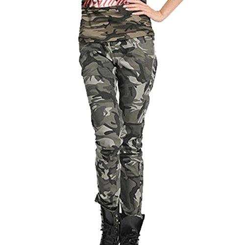 Cool donna ragazza Stretch AUBIG chrysokoll cotone mimetico militare jeans pantaloni Printed Camo tubi pantaloni Boyfriend pantaloni Ranger privo di tempo Stil (Asia tische TAGLIA S M L XL)