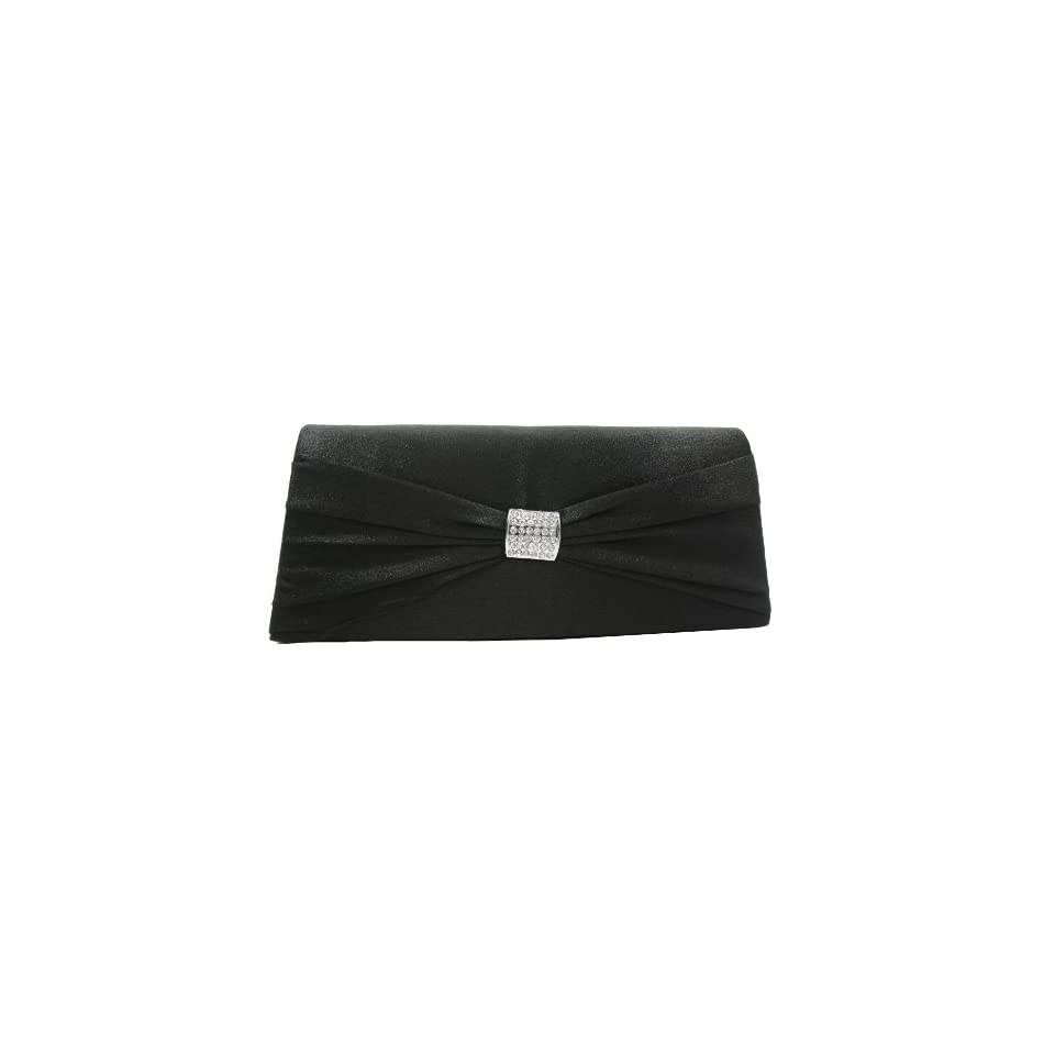 Sophisticated Black Satin Flap Clutch Evening Purse