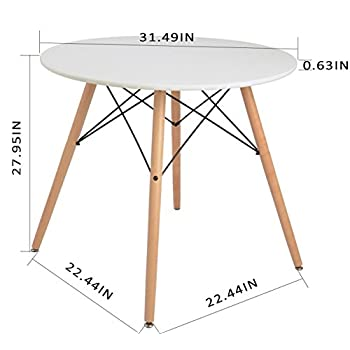 Kitchen Dining Table White Round Coffee Table Modern Leisure Wooden Tea Table Office Conference Pedestal Desk