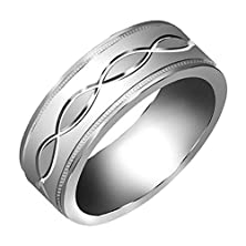 buy 14K White Gold Infinity Pattern Men'S Wedding Band (7Mm) Size-10