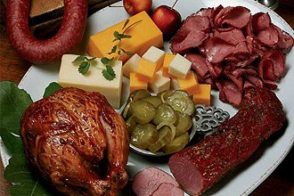 Party Platter of Meats, Cheeses, and Crackers