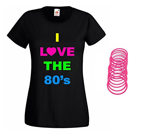 Women's I Love the 80s T-shirt with Jelly Bands - Sizes 8 to 16