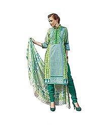 Rudra Textile Women's Green Cotton Churidar Suit