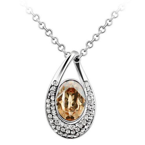 Chaomingzhen 18k White Gold Plated Charm Big Teardrop Necklace Fashion Jewerly for Women Austria Crystal Pendant