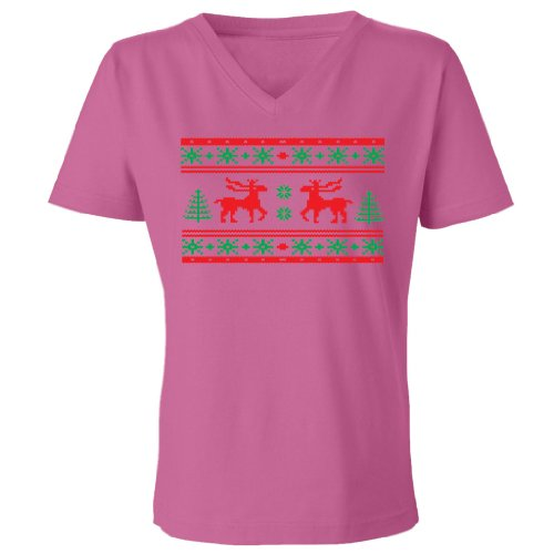Festive Threads Ugly Christmas Sweater (Moose Design) Women'S V-Neck T-Shirt (Raspberry, 3X-Large)