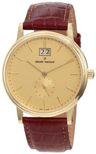 Claude Bernard Men's 64010 37J DI Classic Gents Gold PVD Golden Dial Leather Date Watch