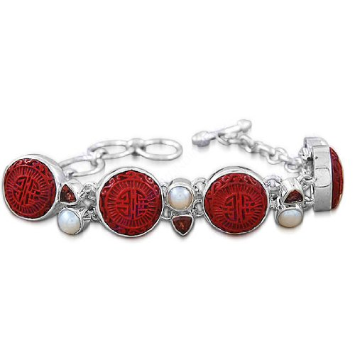 925 Sterling Silver Natural Cinnabar, Garnet , South Sea Pearl Gemstone Antique Style Handmade Fashion Wedding & Party Wear Link Bracelet 9