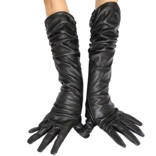 Ecosco Women's Long Faux Leather Gloves Winter Autumn Warm Outdoors