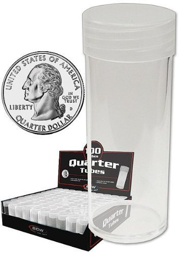COIN STORAGE TUBES, clear plastic w/ screw on tops for Quarters (Qty = 10 tubes) by BCW
