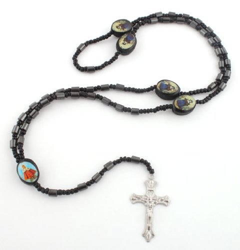 Black 36 Inch Oval Symbolic Rosary Beaded Necklace with Jesus Cross Pendant