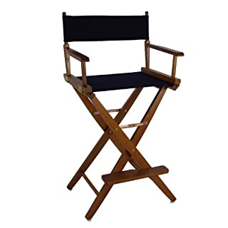 Casual Home Extra-Wide Premium American Oak Directors Chair with Mission Oak Frame and Navy Cover, 30-Inch