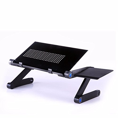 Feccoe Adjustable Vented Laptop Table Laptop Note Computer Desk Portable Bed Tray Book Black (Kids Metal Tv Tray compare prices)